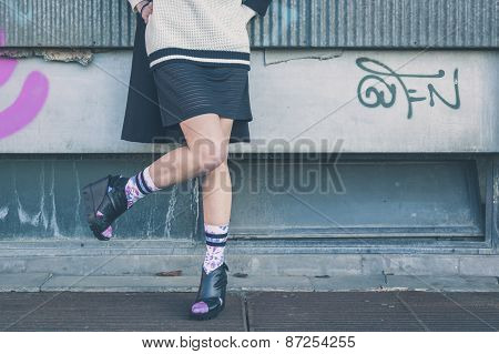 Detail Of A Girl Posing In An Urban Context