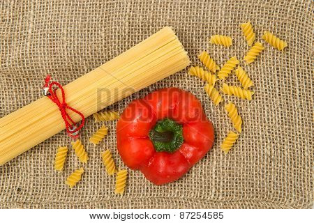 Pasta On Canvas With Red Pepper