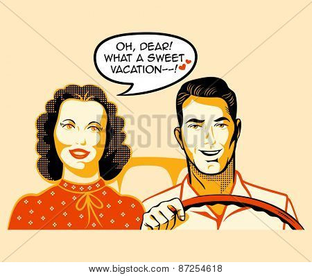 Happy retro couple is enjoying a car ride