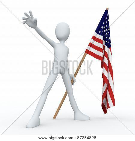 3D Man Flag USA