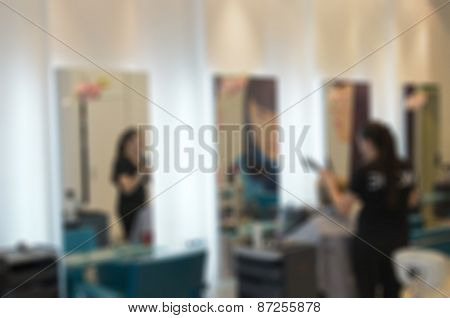 Modern beauty salon blur background