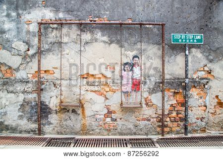George Town,penang ,malaysia- Circa March 26, 2015: Public Street Old With Realistic Children On The
