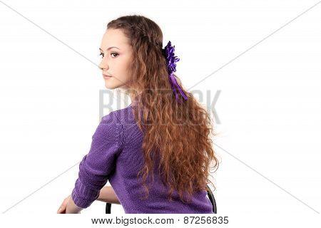 Girl hair braid with flower.