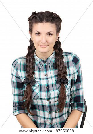 Girl with braids.