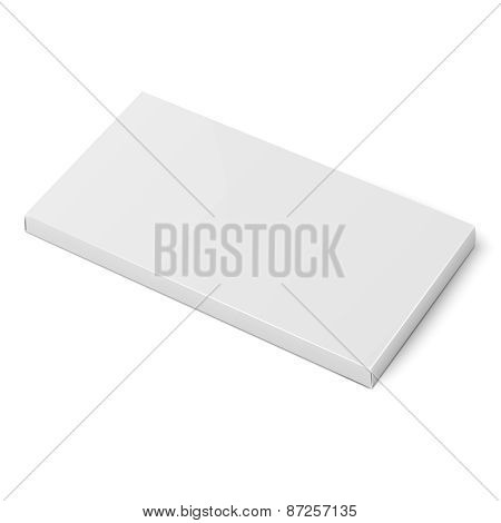 White slim cardboard box template.