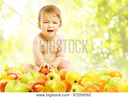 Baby Eating Fruits, Children Food Healthy Diet, Kid Boy In Apples