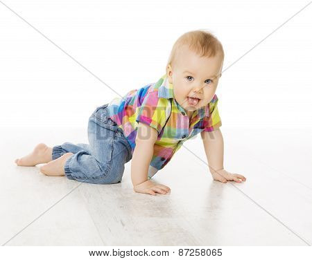 Baby Activity, Crawling Little Child Boy Dressed Jeans Color Shirt, Active Kid Isolated Over White
