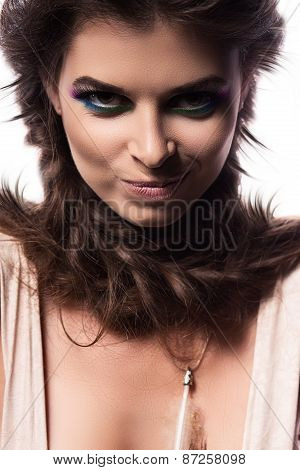 Smiling Sexy Woman With Braids Around Neck