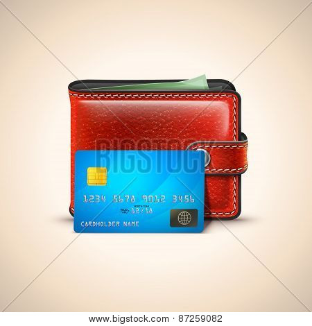 Vector Leather Wallet with Credit Card