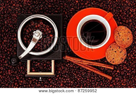 Coffee Grinder With Coffee Cup,Cookies And Cinnamon sticks