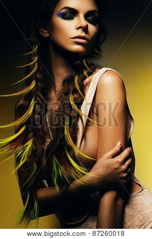 Woman With Green Curls In Braids