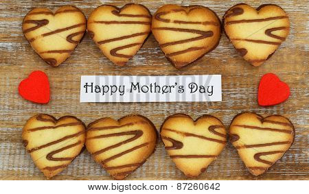 Happy Mother's day card with heart shaped cookies