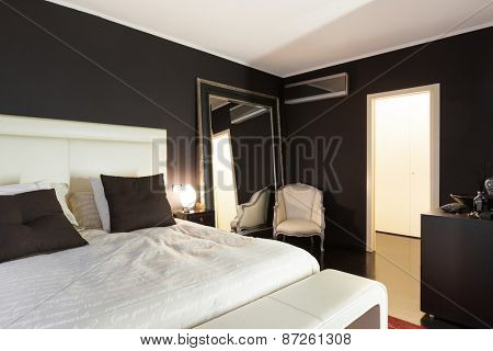 Architecture, beautiful apartment furnished, comfortable bedroom