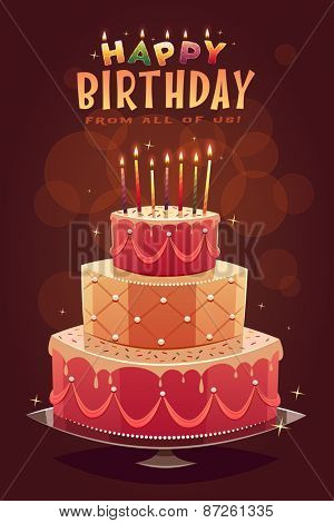 Happy Birthday greeting card. Vector illustration.