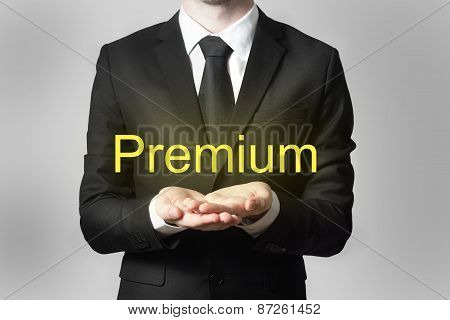 Businessman Serving Gesture Hands Open Premium