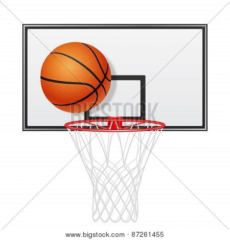 Basketball Backboard And Ball. Isolated On White