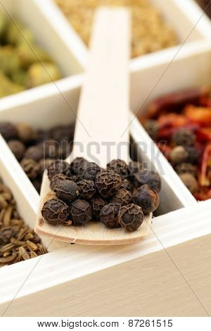 black pepper flavored spice in a wooden spoon