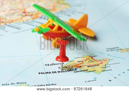 Palma De  Mallorca   ,spain Map Airplane