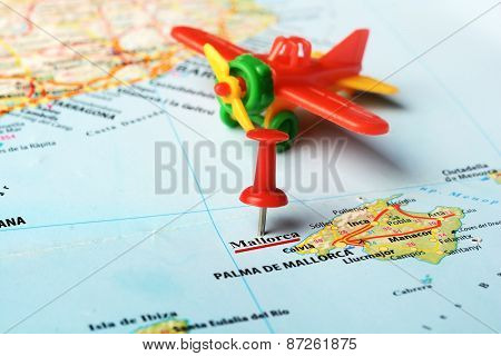 Mallorca  Island ,spain Map Airplane