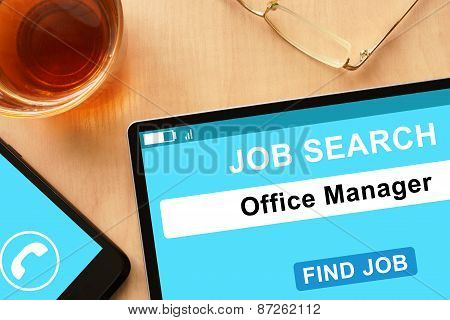 Tablet with Office Manager on job search site.