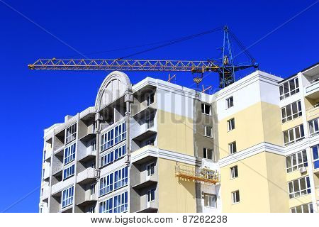 Construction Of Multistorey Modern House With Hoisting Crane