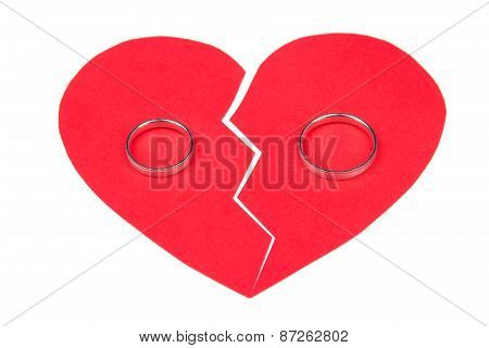 Divorce Concept - Wedding Rings On Red Broken Heart Isolated On White