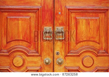 Retro wooden door and handles