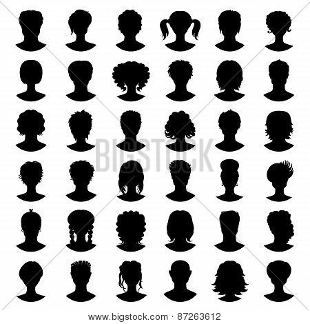 Vector Set Of Silhouette Avatars. Girls And Guys