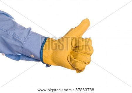 Construction Engineer Gesturing Thumbs Up For Approval