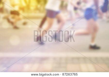 Blur Defocus People Running Marathon