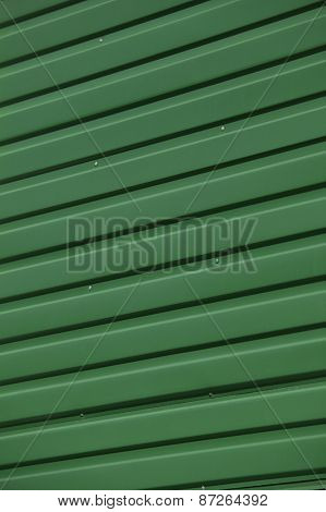 Close up of Green Corrugated Iron Full Frame