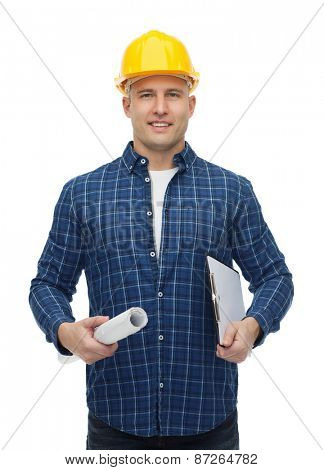 repair, construction, building, people and maintenance concept - smiling male builder or manual worker in helmet with blueprint and clipboard