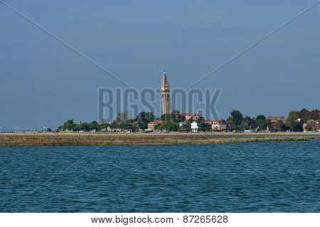 Burano island, view from boat in the lagoon Venice