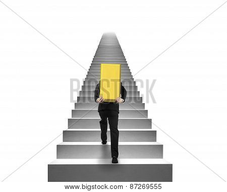 Businessman Carrying Gold Bullion On Stairs With White Background