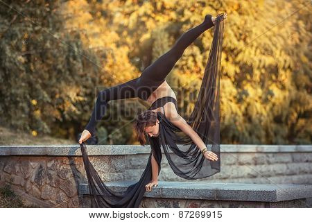 Acrobat Girl Standing On The One Hand