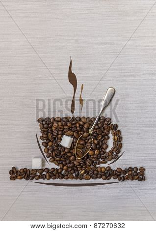 Coffee Beans In A Cup, Spoon,sugar And Abstract Smoke