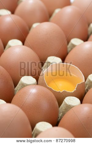 Vertical image of Cardboard egg box with one broken brown egg