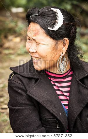 The portrait of tribal Hmong woman, Vietnam