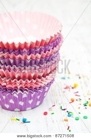 Empty Cupcake Cups And Color Sprinkles