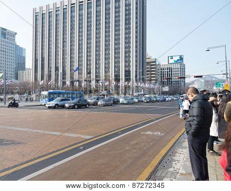 Korean People Cross Street