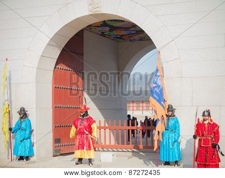 Men In Korean Soldier Costume Around Gyeongbokgung Palace    In Seoul, South Korea