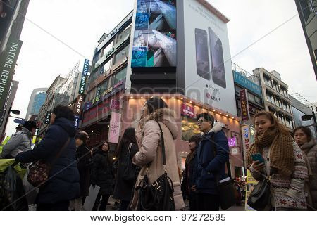 People Around Myeongdong In Seoul, South Korea