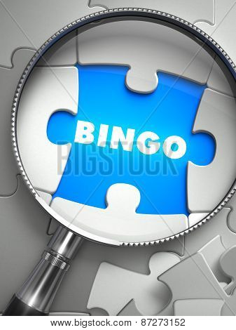Bingo - Puzzle with Missing Piece through Loupe.