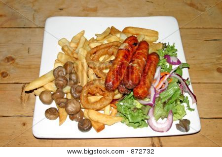 Sausages Chips And Onion Rings