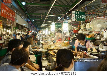 Traditional Gwangjang street market, Seoul