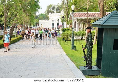 Tourists Visit The Bang Pa-in Palace In Ayutthaya, Thailand