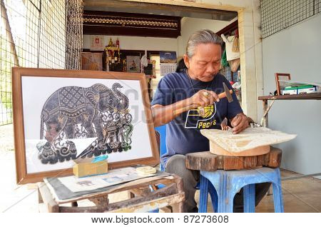 Artist Creates The Hand Craft By Using Buffalo Skin In Ayutthaya, Thailand