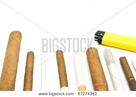 Cigars And Plastic Lighter