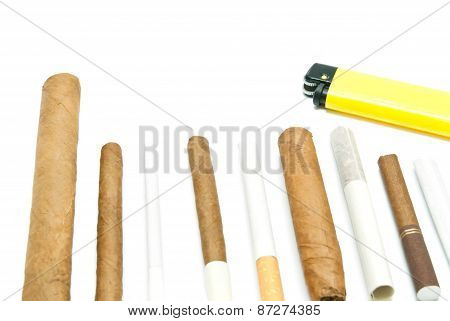 Cigars And Lighter On White