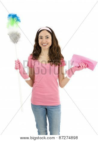 Cleaning Woman Standing With Cleaning Tools In Her Hand